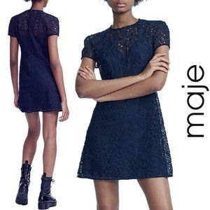 Maje NWT Repiz Lace A-line Navy Mini Dress, Large